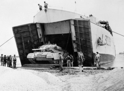 British tank landing in Egypt during the Suez Crisis